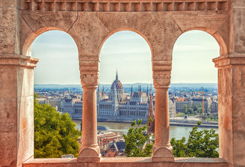 Printed roller blinds Budapest Hungary. Budapest. Parliament view through Fishermans Bastion.
