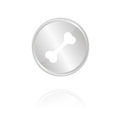 Knochen - Hundeknochen - Silber Münze mit Reflektion