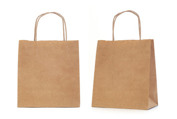 Recycled paper shopping bag on white background.