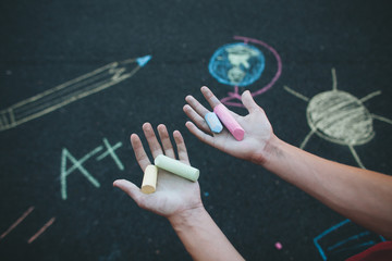 Hands Holding Chalk