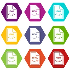 File HTML icon set color hexahedron
