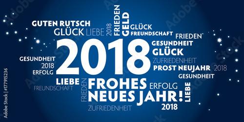 2018 Neujahrsgruss blau mit guten wünschen für das neue Jahr ...