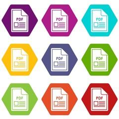 File PDF icon set color hexahedron