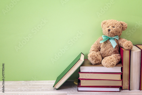 Plush bear with stack of book on a green background. Copy space.