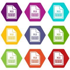 File XLS icon set color hexahedron