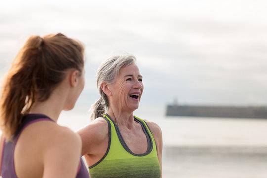 Active senior woman outdoors exercising