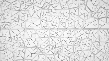 Abstract white or light grey background with many triangls, 3d render