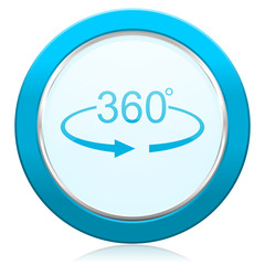 Panorama 360 blue chrome silver metallic border web icon. Round button for internet and mobile phone application designers.