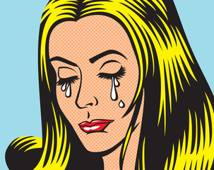 crying girl in pop art style