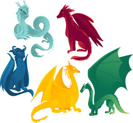 vector flat cartoon colored blue, red yellow and green majestic mythical dragons set. Isolated illustration on a white background.