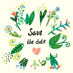 Save the date floral card in the ethnic style