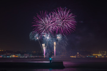 Fireworks over Aberdeen Harbour