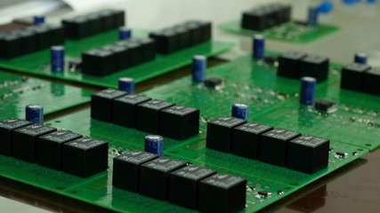 Detail of integrated circuit board with chip. Integrated Circuit Board of a Hard Disk. Chip, microchip