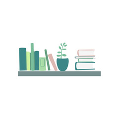Books standing and lying on shelf, house plant, interior element, flat cartoon vector illustration isolated on white background. Flat cartoon bookshelf with books and house plant hanging on the wall
