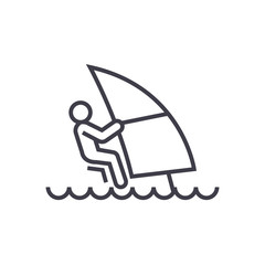 windsurfing line icon, sign, symbol, vector on isolated background