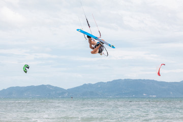 Kitesurfer Doing Acrobatic Moves