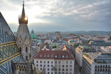View on Vienna old town from Stephansdom
