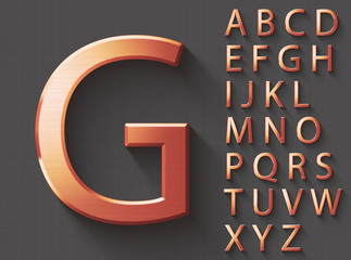 Set of copper 3D uppercase english letters. Copper metallic shiny font on gray background. Good typeset for technology and production concepts. Transparent shadow, EPS 10 vector illustration.