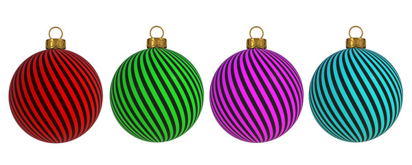 Christmas ball New Year's Eve decoration convolution lines bauble wintertime hanging adornment souvenir. Traditional ornament happy winter holidays Merry Xmas symbol. 3D rendering
