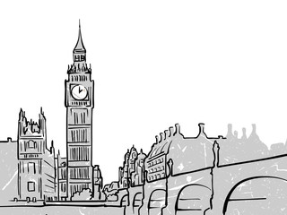 London, United Kingdom famous Travel Sketch