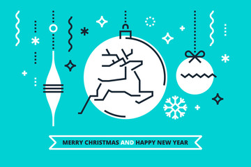 Cool flat linear Xmas illustration for banners, greeting cards and invitations. Merry Christmas and Happy New Year congratulation. Vector design.