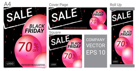 Black Friday Sale Text Banner and Pink Balloons Design Vector Set