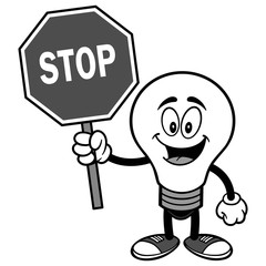 Light Bulb with Stop Sign Illustration