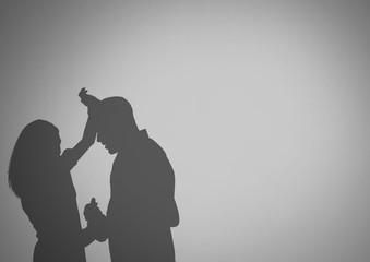 Violent couple silhouettes arguing