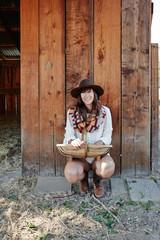 Portrait of woman on farm
