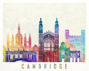 Fototapete - Cambridge landmarks watercolor poster