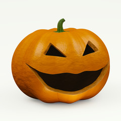 Scary halloween pumpkin with joker face on the white background
