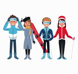 People in winter cartoon icon vector illustration graphic design