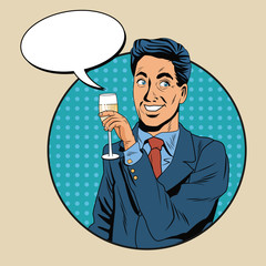 Businessman pop art icon vector illustration graphic design