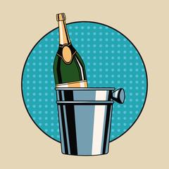 Champagne toast pop art icon vector illustration graphic design