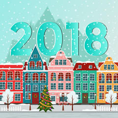 Vector illustration of european winter christmas town. Flat design. Old houses.