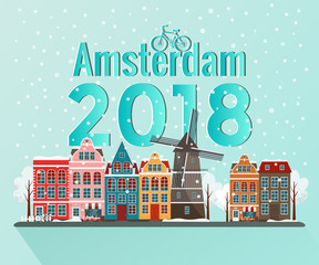 Vector illustration of winter Amsterdam. Old european city.