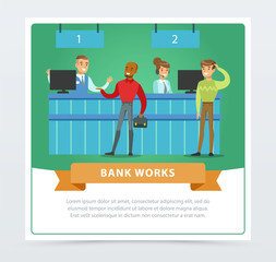 Clients and managers at the bank office, bank works banner for advertising brochure, promotional leaflet poster, presentation flat vector element for website or mobile app