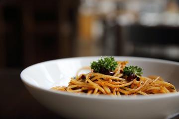 Spaghetti with chilli and garlic , spaghetti peperoncino , Italian food