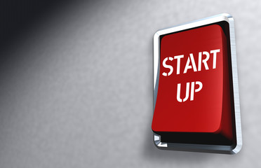 """Business illustration: red switch with caption """"Start up"""""""