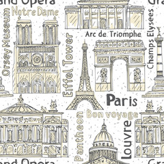 paris landmarks seamless vector pattern. hand drawn background