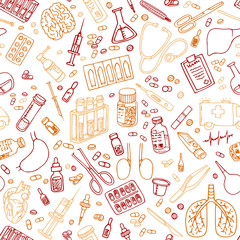 medicine doodles seamless vector pattern.