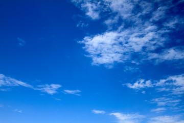 Background - Vivid and bright blue sky with white dispersed clouds