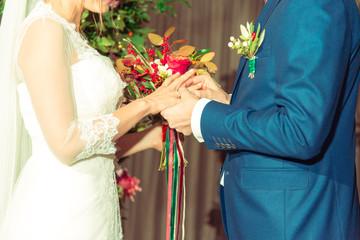 Wedding rings. Newlyweds dress rings