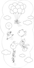Coloring cartoon animals flying with balloons