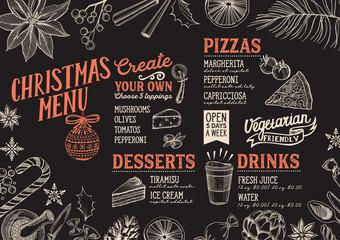 Christmas menu food template for restaurant.