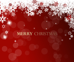 Christmas background with white snowflakes and golden Merry Christmas text -  red version