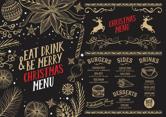Christmas menu food template for restaurant.