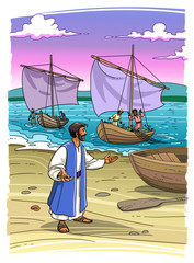 Jesus Christ on the sea is calling to follow him fishermen