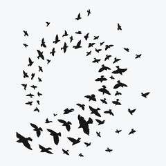 Silhouette of a flock of birds. Black contours of flying birds. Flying pigeons. Tattoo.