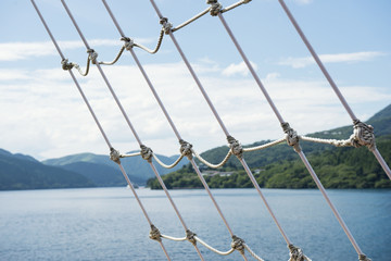 Sailing on boat and sightseeing of lake in Hakone Japan